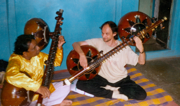 Kalyan learning to play the rudra veena